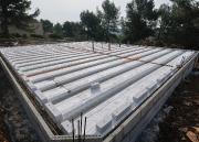 Chantier construction pose d'un plancher chauffant