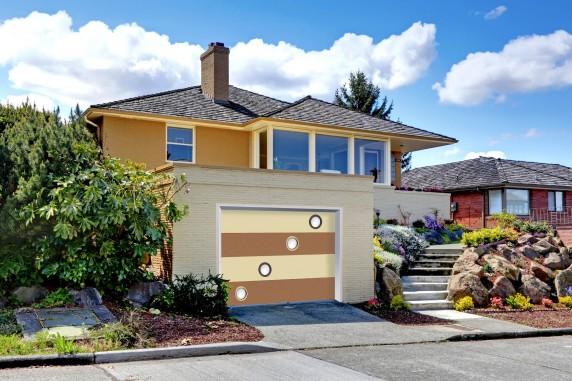 Modern caramel color house with garage.
